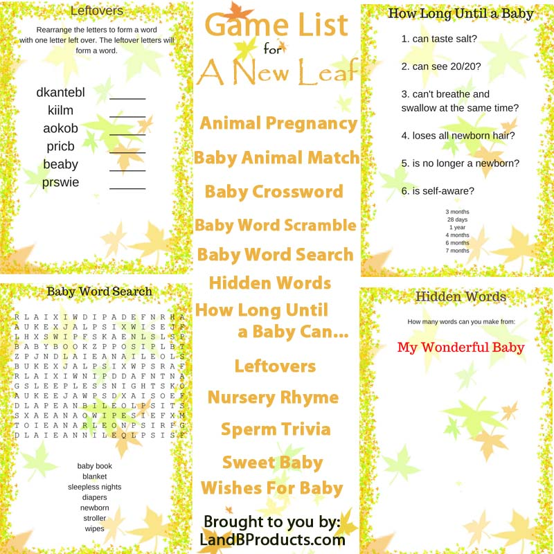 a new leaf baby shower game l and b products