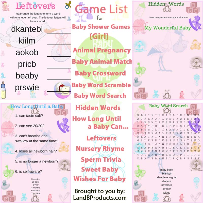 baby shower games for girl l and b products