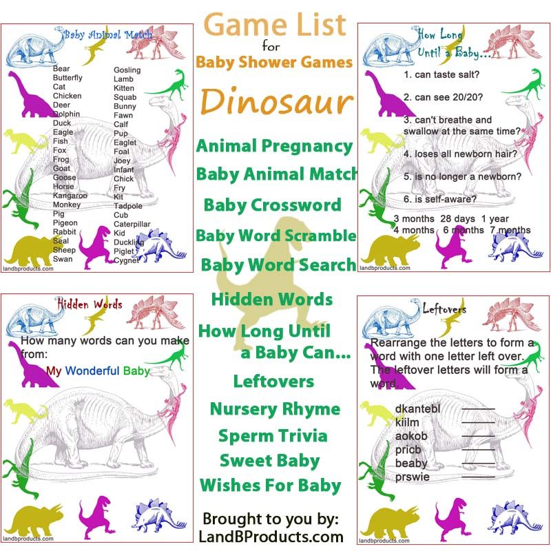 Dinosaur Baby Shower Games L And B Products